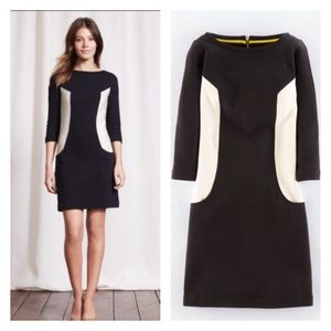 Boden size 8 dress black and white ottoman knit